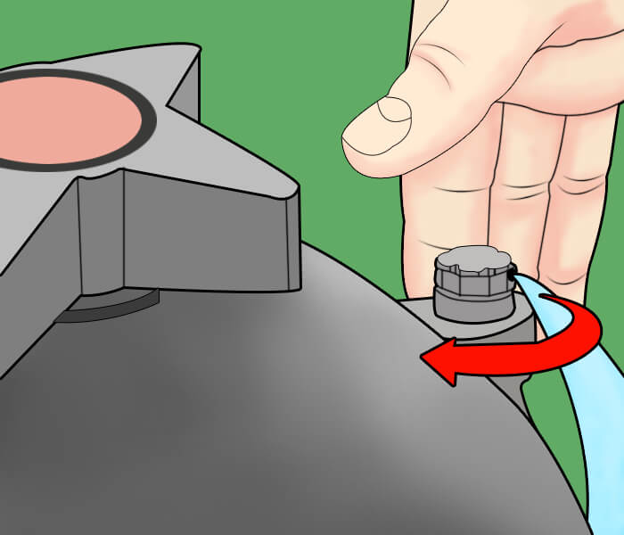 close the air valve when water starts to spray